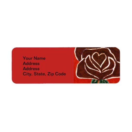 Étiquette de adresse de retour de fleur, coeur