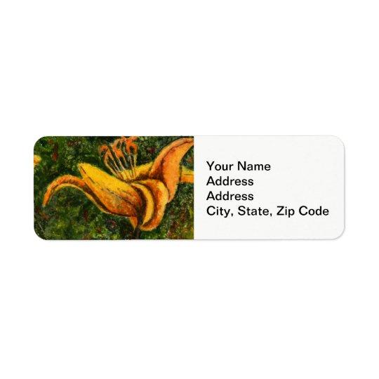 Étiquette de adresse de retour de fleur, jour