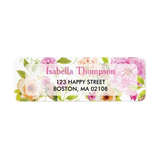 Étiquette de adresse de retour de fleurs