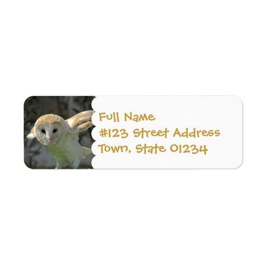 Étiquette de adresse de retour de hibou de grange