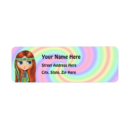 Étiquette de adresse de retour de hippie de paix