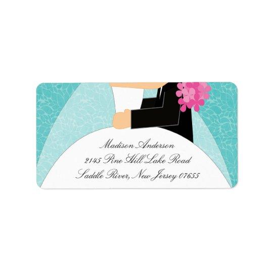 Étiquette de adresse de retour de jeune mariée et