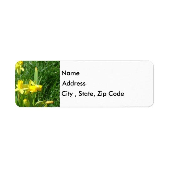 Étiquette de adresse de retour de jonquilles