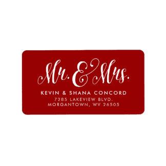 Étiquette de adresse de retour de nouveaux mariés
