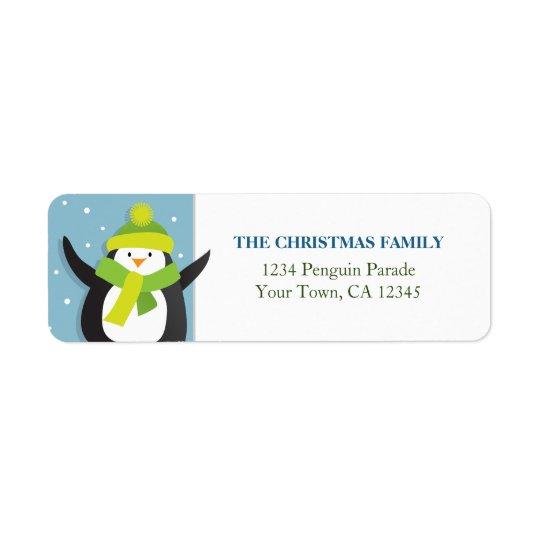 Étiquette de adresse de retour de pingouin de Noël