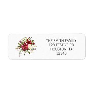 Étiquette de adresse de retour de poinsettia