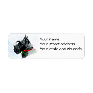 Étiquette de adresse de retour de Scottie de Noël