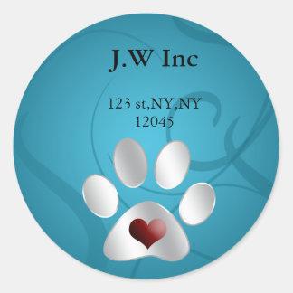 étiquette de adresse de retour de soin des animaux sticker rond