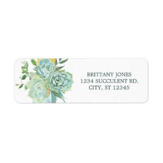 Étiquette de adresse de retour de Succulent