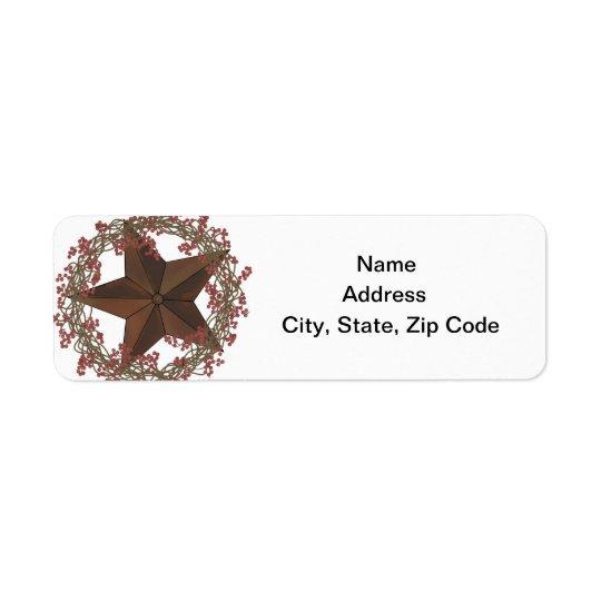 Étiquette de adresse de retour d'étoile