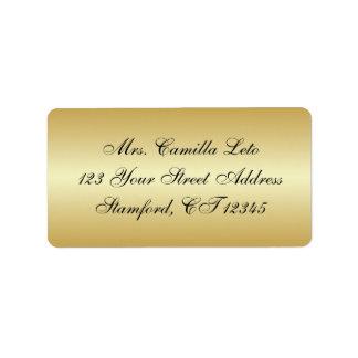 Étiquette de adresse de retour d'or étiquette d'adresse