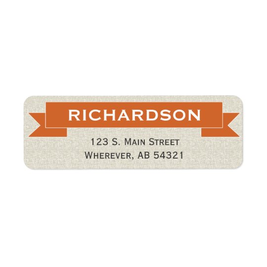 Étiquette de adresse de retour d'orange de signe