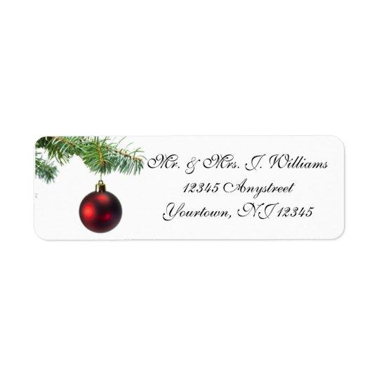Étiquette de adresse de retour d'ornement d'arbre