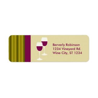 Étiquette de adresse de retour en verre de vin