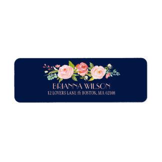 Étiquette de adresse de retour floral de roseraie
