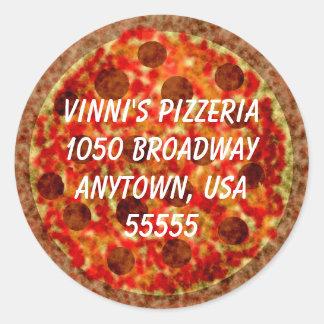 Étiquette de adresse de retour formé par pizza
