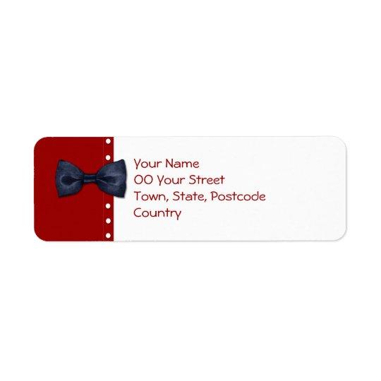 Étiquette de adresse de retour noir de BowTie