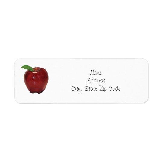 Étiquette de adresse de retour rouge d'Apple