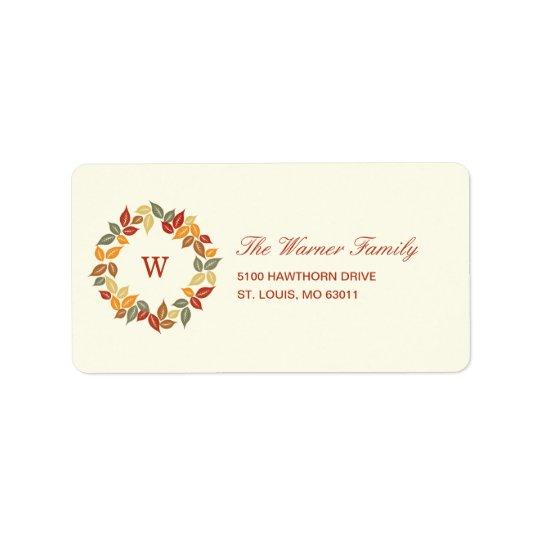 Étiquette de adresse de thanksgiving de guirlande