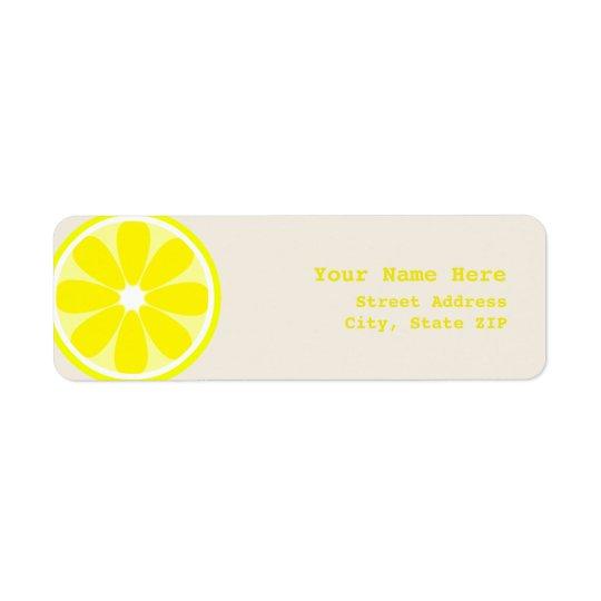 Étiquette de adresse de tranche de citron