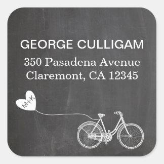 Étiquette de adresse de vélo et de coeur - sticker carré