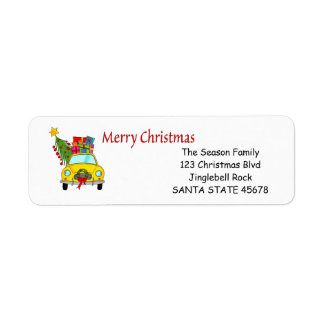 Étiquette de adresse de voiture de Joyeux Noël