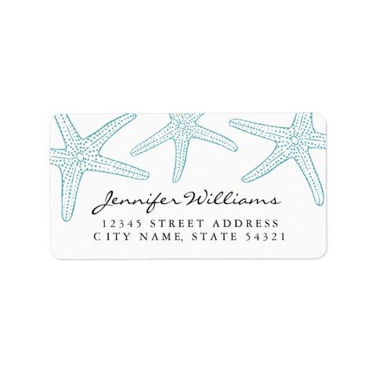 Étiquette de adresse d'étoiles de mer de turquoise