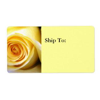 Étiquette de adresse d'expédition de rose jaune