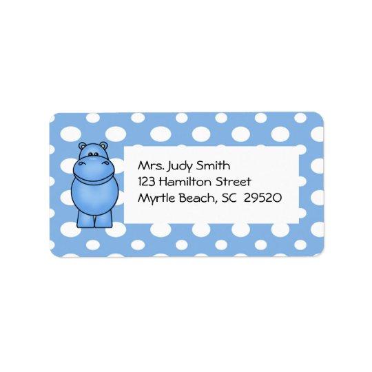 Étiquette de adresse d'hippopotame