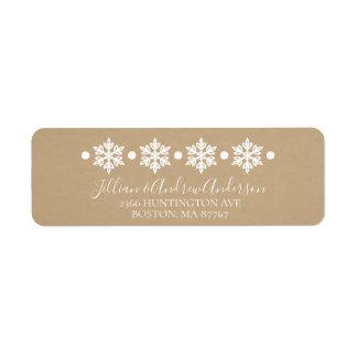 Étiquette de adresse d'hiver de flocons de neige