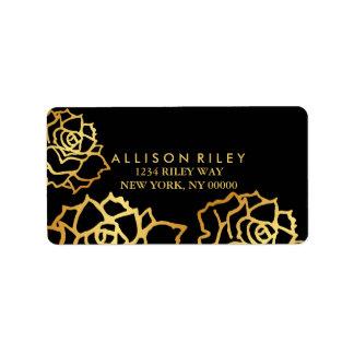Étiquette de adresse d'or de roses - noir