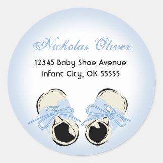 Étiquette de adresse doux de chaussure de bébé sticker rond