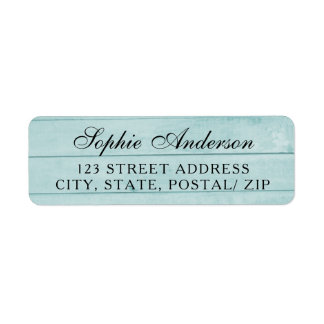 Étiquette de adresse en bois bleu vintage de