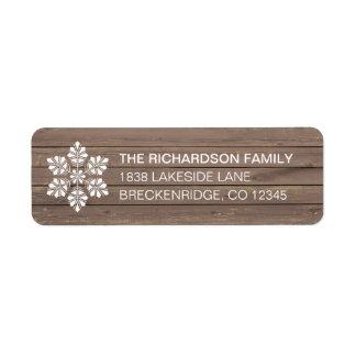 Étiquette de adresse en bois rustique de retour de