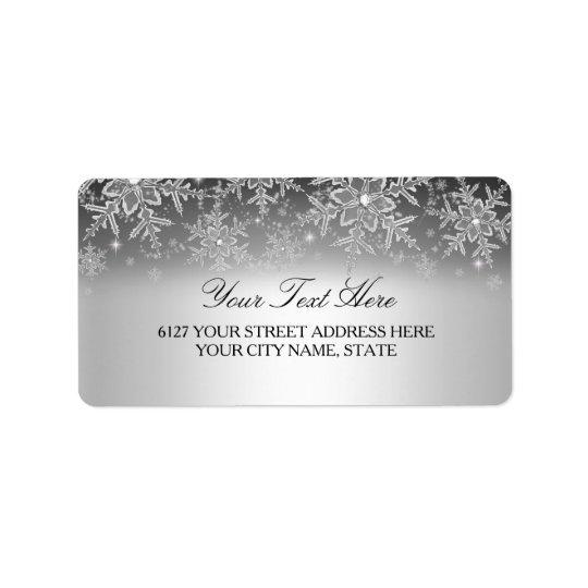 Étiquette de adresse en cristal d'hiver d'argent