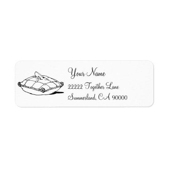 Étiquette de adresse en verre de pantoufle de