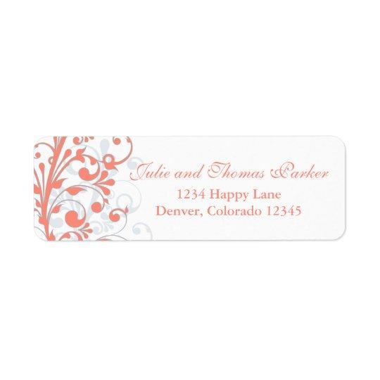 Étiquette de adresse floral abstrait de retour de