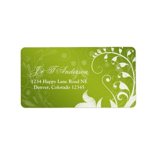 Étiquette de adresse floral blanc vert de mariage
