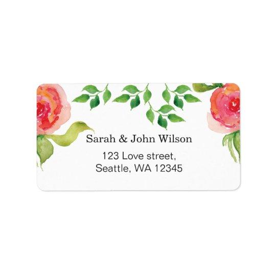 étiquette de adresse floral d'aquarelle rose de