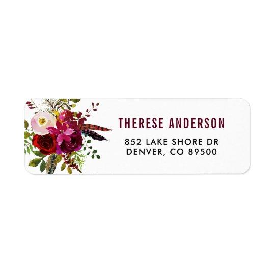 Étiquette de adresse floral d'automne de Boho