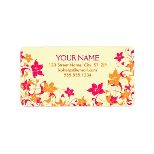Étiquette de adresse floral de frontière de roses