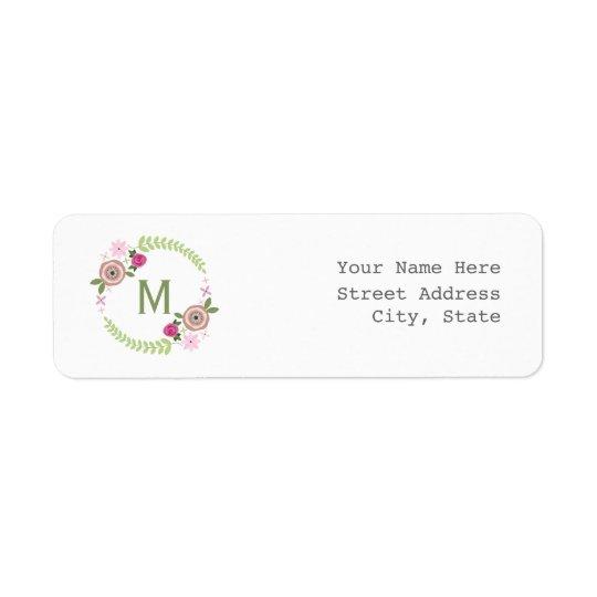 Étiquette de adresse floral de guirlande