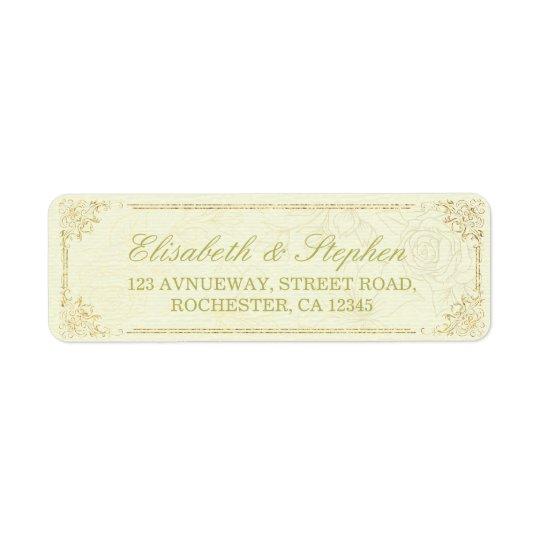 Étiquette de adresse floral de mariage de cadre de