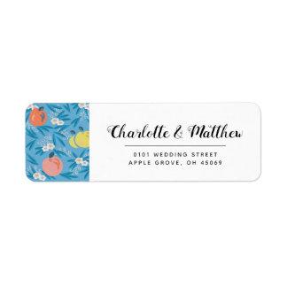 Étiquette de adresse floral de mariage de rose de
