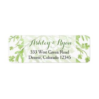 Étiquette de adresse floral de mariage de trèfle