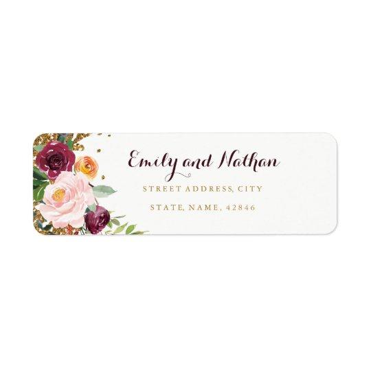 Étiquette de adresse floral de retour de