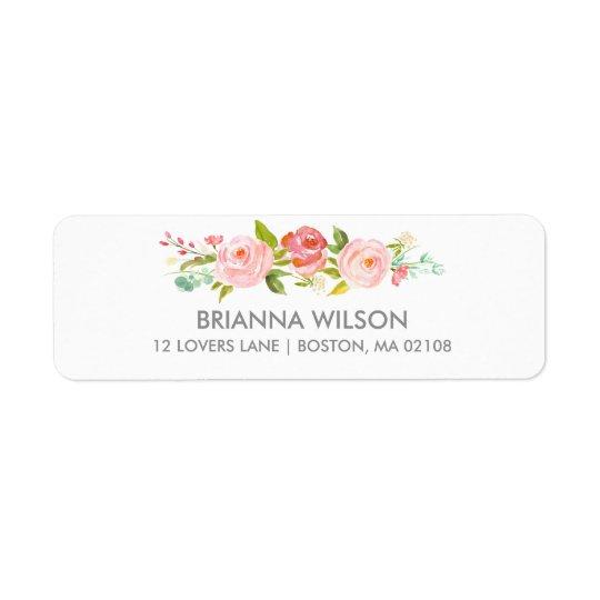 Étiquette de adresse floral de retour de blanc de