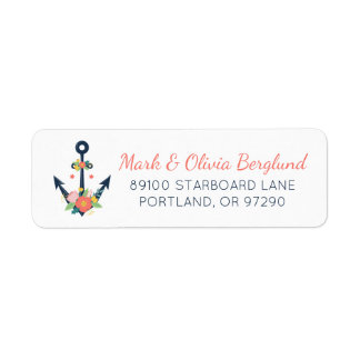 Étiquette de adresse floral de retour de marin