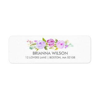 Étiquette de adresse floral de retour de pourpre