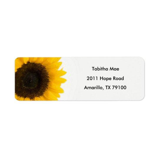 Étiquette de adresse floral de tournesol
